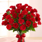 Suddenly Love 1 dz red roses & 1 dz red carnations