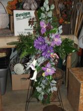 Sugar Plum Cross Funeral Flowers