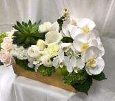 Sukkot, green& white Sukkot, green orchids & Hydrangea
