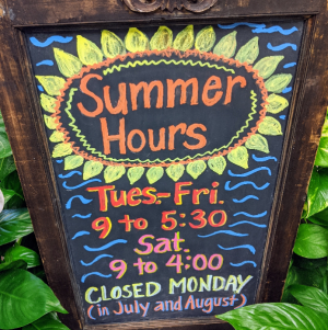 Summer hours  in Chatham, NJ | SUNNYWOODS FLORIST