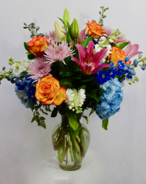 Summer Mix Bouquet Vase arrangement.  in Coral Springs, FL | Hearts & Flowers of Coral Springs