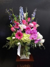 Summer mix with fuchsia and blue  flowers