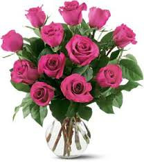 1 Dz Purple Lavender  Roses in Vase Free Chocolate or Balloon!!