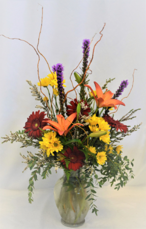 COLORS OF A FALL EVENING FRESH FLOWERS VASED
