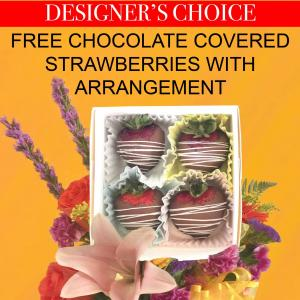 Summer Special Free Chocolate Covered Strawberries with DC Arrangement in El Paso, TX   ANGIE'S FLORAL DESIGN & GIFTS