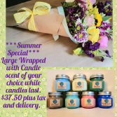 Summer Special Wrapped bouquet & Candle Combo