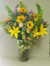 Summer Sun Fun arrangement in vase.