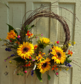 Summer Sunflowers Silk Wreath