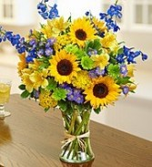 Sunflower and Blue Bouquet
