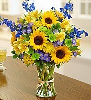 Sunflower and Blue Bouquet