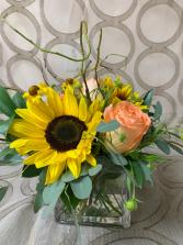 Summer sunflowers sunflowers, roses and seasonal filler flowers