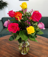 Dozen Summer Sunset Roses Rose Arrangement
