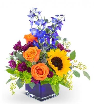 Summer sunshine's  Blue cube vase