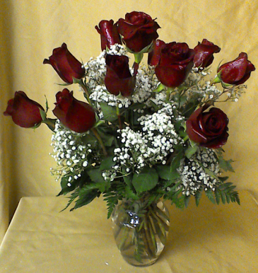 Fall Special deep red roses accented with filler