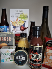 SIZZLING HOT BBQ BASKET Snacks, beer,  wine, seasoning, cheese,and more