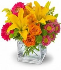 Summertime Splash Flowers Cube Arrangement