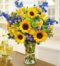 Sun Bathing Sunflowers, Blue Delphenium, Green button mums
