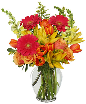 SUN-DRENCHED COLOR Arrangement in Pacific City, OR | CAPTAIN'S FLOWERS & GIFTS