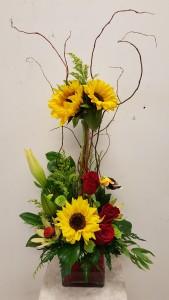 Sunfloer & Rose arrange