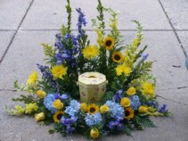 Sunflower and Hydrangea Urn Surround Yellow Roses, Snapdragons and Mums Accent Iris