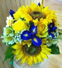 Sunflower and Iris Bridal Bouquet Hand-Tied Bridal Bouquet