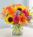 SUNFLOWER AND LILLY SPRING BOUQUET VASE