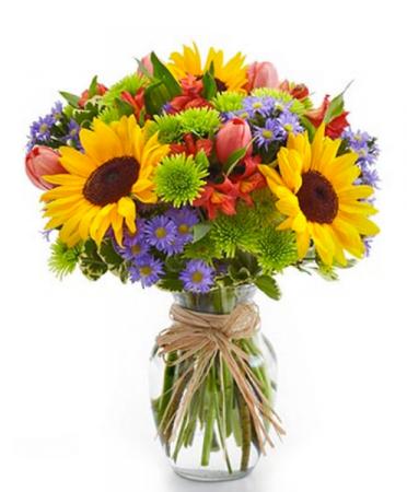 Sunflower and More Vase Arrangement