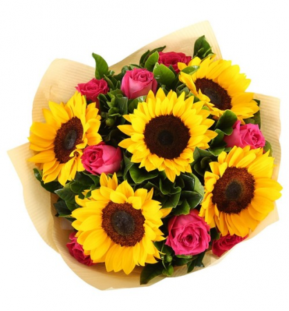 SUNFLOWER AND ROSE BOUQUET WRAPPED BOUQUET