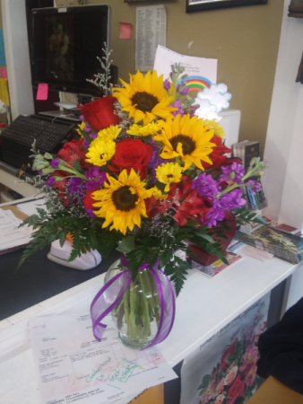 Sunflower and Rose Celebration Bouquet