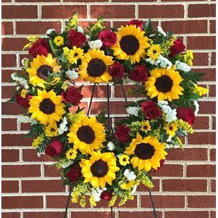 Sunflower and Rose Heart Wreath