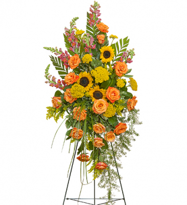 SUNFLOWER AND ROSE STANDING SPRAY STANDING FUNERAL PC ON A 6' STAND