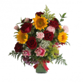 Sunflower and Roses arrangement