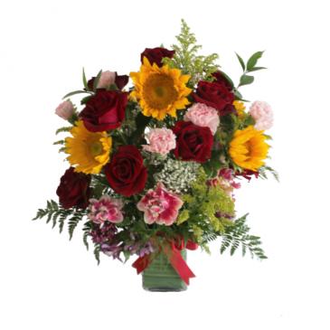 Sunflower and Roses arrangement