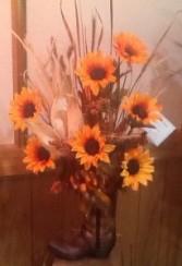 Sunflower and wheat boot Summer cowboy boot arrangement