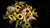 Sunflower are favorite casket spray
