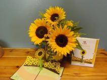 Sunflower arrangement with pop up card Sunflower arrangement with pop up card