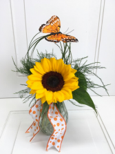 Sunflower bud vase