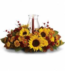 Sunflower Centerpiece     T170-1A Floral centerpiece with candle