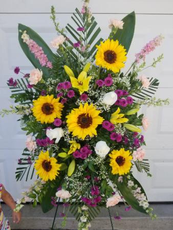 Sunflower Delight sympathy spray