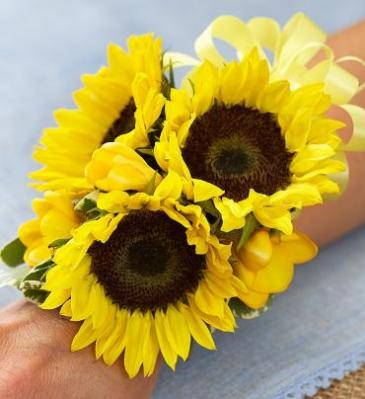 Sunflower & Freesia Corsage