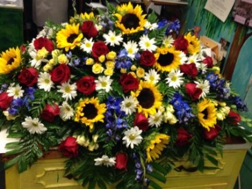 Sunflower Garden Casket Spray
