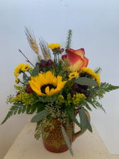 Sunflower mug Fresh flower arrangement