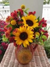 Sunflower Pitcher Arrangement  Designed all-around