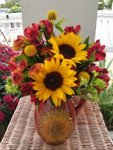 Sunflower Pitcher Arrangement  Designed all-around in Boyne City, MI | UPSY-DAISY FLORAL