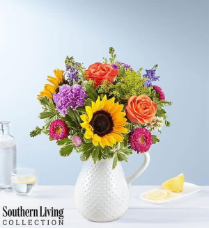 Sunflower Pitcher Mix Of Florals  in Oakdale, NY | POSH FLORAL DESIGNS INC.
