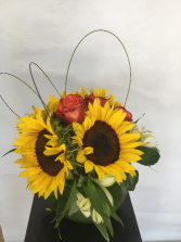 Sunflower & Rose Arrangement in Glass Fish Bowl