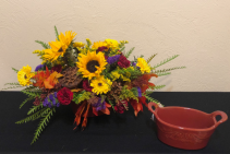 Sunflower Sampler Keepsake Casserole Dish Centerpiece