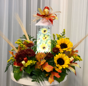 Sunflower Shimmering Lantern Bouquet 2 Gifts in One in Springfield, IL | FLOWERS BY MARY LOU