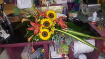 Sunflower Simple Casket Spray