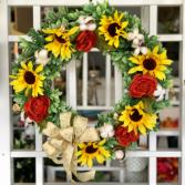 Sunflower Skies Silk Floral Wreath